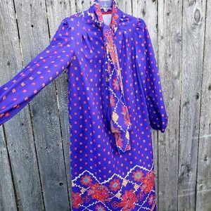 VINTAGE 80s Dress M/L Purple Floral Semi Pussy